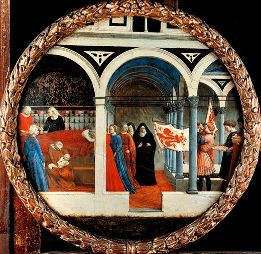 Nativity, by Tommaso Masaccio (1401-1428), tempera on canvas, 56 cm diameter. : Stock Photo