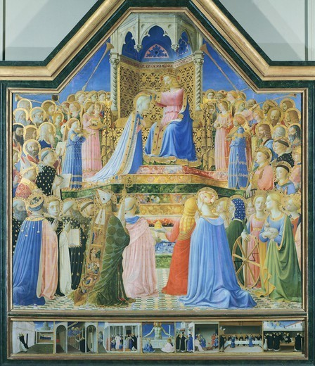 Stock Photo: 1788-43421 Coronation of the Virgin, 1434-1435, by Giovanni da Fiesole known as Fra Angelico (1400-ca 1455), tempera on wood, 213x211 cm.