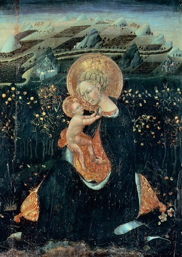Stock Photo: 1788-43431 Madonna of Humility, ca 1435, by Giovanni di Paolo (active ca 1420-1482), tempera on panel, 62x48 cm.