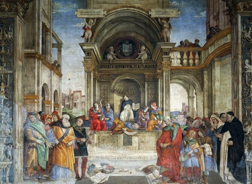 Triumph of Saint Thomas Aquinas Over the Heretics, 1489-1492, by Filippino Lippi (1457 ca- 1504), fresco. The Basilica of Saint Mary Above Minerva, Carafa Chapel, right wall, Rome. : Stock Photo