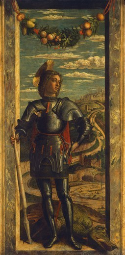 St George, ca 1460, by Andrea Mantegna (1431-1506), tempera on canvas, 66x32 cm. Detail. : Stock Photo