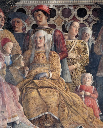 Barbara of Brandenburg with her daughter Paula and Rodolfo Gonzaga, detail from the Court Wall, 1465-1474, by Andrea Mantegna (1431-1606), fresco. San Giorgio Castle, Wedding Chamber or Camera Picta, Mantua. : Stock Photo