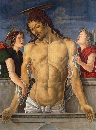 Deposition of Christ supported by angels, 1471, Marco Zoppo (1433-1478), tempera on canvas, 120x95 cm. : Stock Photo