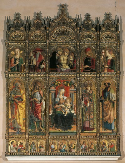 Altarpiece of St Emidio, 1473, by Carlo Crivelli (ca 1430- ca 1495), tempera on wood, 270x270 cm. Cathedral of St Emidio, the chapel of the Sacrament, Ascoli Piceno. : Stock Photo