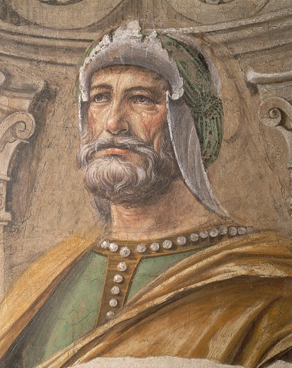 Stock Photo: 1788-43471 Face of man, detail from the Army Men, 1481, by Donato Bramante (1444-1514), fresco transferred to canvas, 90x113 cm.