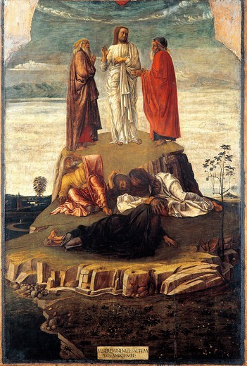 Transfiguration, 1455-1460, by Giovanni Bellini (1431-36 - 1516), tempera on wood. : Stock Photo