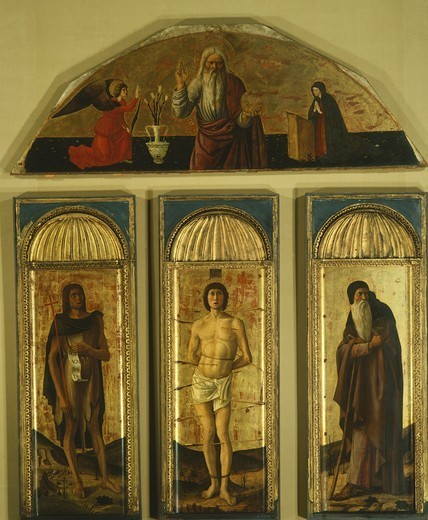 Stock Photo: 1788-43482 Triptych of St Sebastian, 1464-1470, by Giovanni Bellini (1431-36 - 1516) and other painters, tempera on panel, central panel 127x48, side panels 103x45, lunette 59x170.