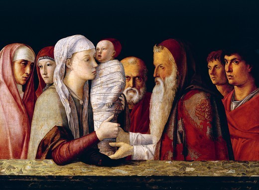 Presentation in the Temple, 1460-1464, by Giovanni Bellini (1431-36 - 1516), tempera on panel, 80x105 cm. : Stock Photo