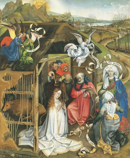 Stock Photo: 1788-43503 Nativity, 1425-1430, by the Master of Flemalle (ca 1420-1444), oil on panel, 86x72 cm.
