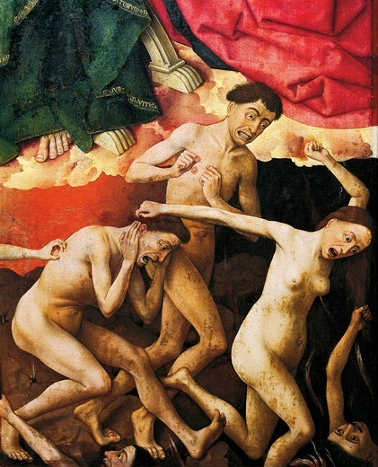 Stock Photo: 1788-43508 The damned, detail from the Last Judgement altarpiece, 1446-1452, by Rogier van der Weyden (1399-1464), oil on canvas, 215x560 cm.
