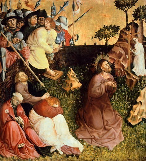Stock Photo: 1788-43517 Prayer in the garden, panel from the Wurzach Altarpiece, 1437, by Hans Multscher (ca 1400-1467), panel, 148x140 cm.