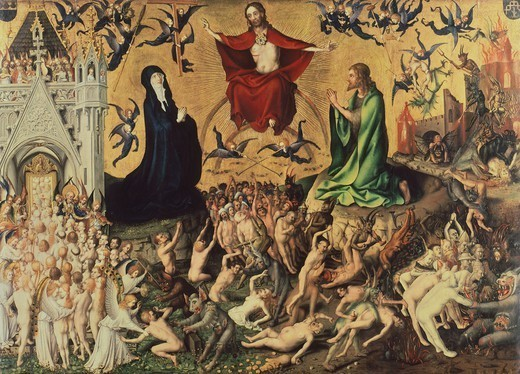 The Last Judgement, 1435, by Stefan Lochner (ca 1400-1451), panel, 122x176 cm. : Stock Photo