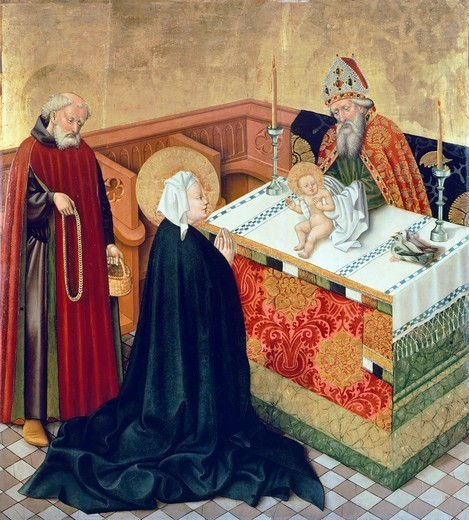 Stock Photo: 1788-43523 Presentation in the Temple, scene from the Life of the Virgin, side panel of King Albert's Altar, 1438-1439, by the Master of King Albert's Altar (active 1438-1440).