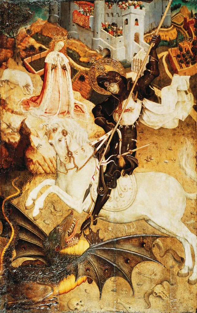Stock Photo: 1788-43527 St George and the dragon, 1430-1435, by Bernat Martorell (ca 1400-1452), tempera on panel.