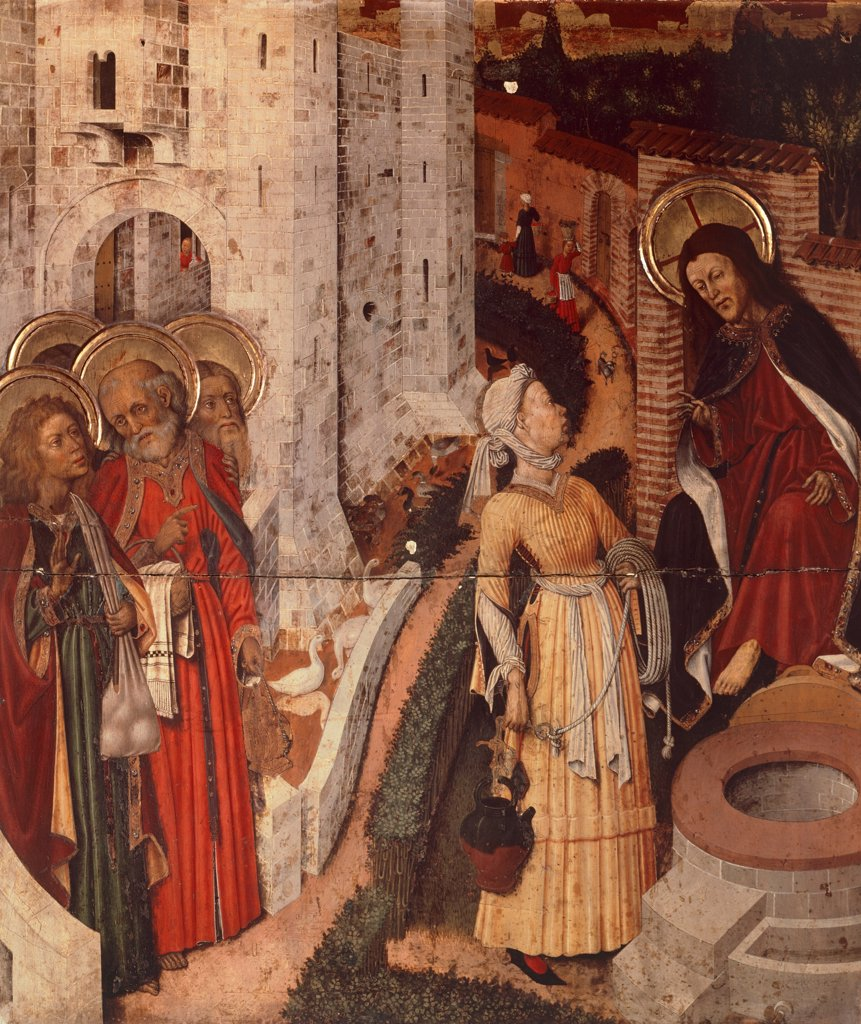 Stock Photo: 1788-43529 Jesus and the Samaritan woman, detail from the Transfiguration Altarpiece, ca 1445, by Bernat Martorell (ca 1400-1452). Cathedral of the Holy Cross and St Eulalia, Barcelona, Spain.