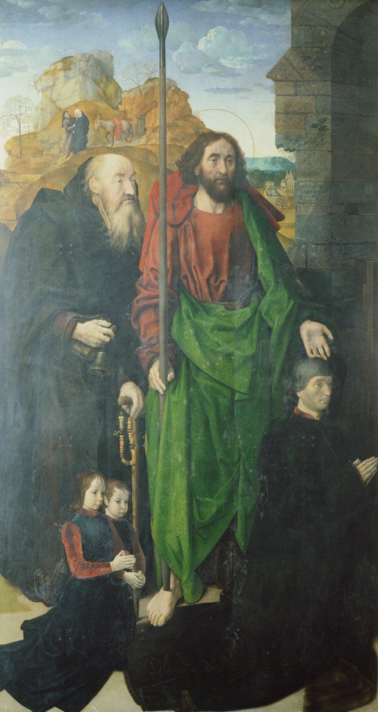 St Anthony and St Thomas with Tommaso Portinari and his two daughters, detail from the Portinari Triptych, 1480-1483, by Hugo van der Goes (1440-1482). : Stock Photo