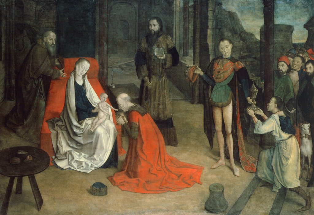 Stock Photo: 1788-43542 Adoration of the Magi, 1465, by Joos van Wassenhove (active 1460-1480), tempera on canvas, 109x160 cm.
