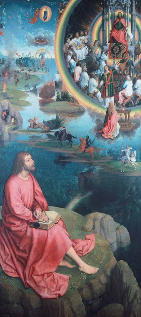 St John the Evangelist, detail from the Triptych of St Catherine by Hans Memling (ca 1430-1494). : Stock Photo