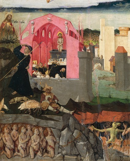 The miraculous mass of St Gregory and Purgatory, detail from the Coronation of the Virgin, 1454, by Enguerrand Quarton (ca 1420-after 1466), tempera on panel, 183x220 cm. : Stock Photo