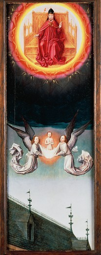 Stock Photo: 1788-43554 St Bertin's soul rising to heaven, a fragment of the St Bertin Altarpiece, ca 1459, by Simon Marmion (ca 1425-1489), oil on panel, 57.7x20.5 cm.