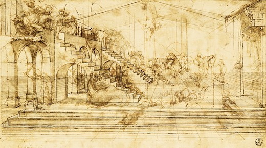 Stock Photo: 1788-43576 Prospective study for the Adoration of the Magi, ca 1481, by Leonardo da Vinci (1452-1519), pen and ink on paper, 16.3x29 cm.