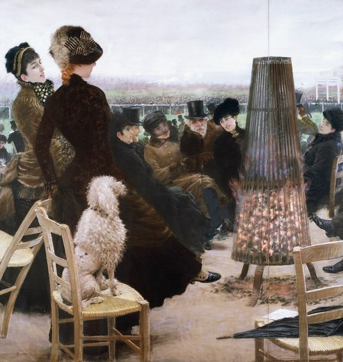 Triptych, horse racing at the Bois de Boulogne, 1881, by Giuseppe De Nittis (1846-1884). The central panel. : Stock Photo