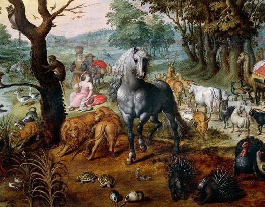 The animals entering Noah's Ark, by Jan van Kessel II (1626-1679), oil on panel, 55x43 cm. Detail. : Stock Photo