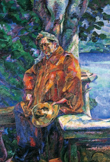 Stock Photo: 1788-43612 Portrait of Maestro Ferruccio Busoni, by Umberto Boccioni (1882-1916).