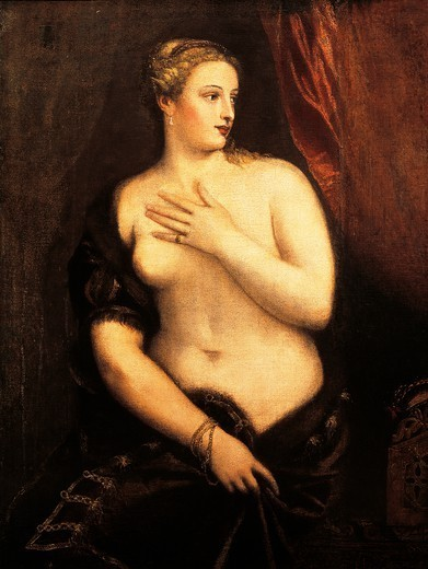 Venus with a Mirror, by Titian (ca 1490-1576), oil on canvas, 115x84 cm. : Stock Photo