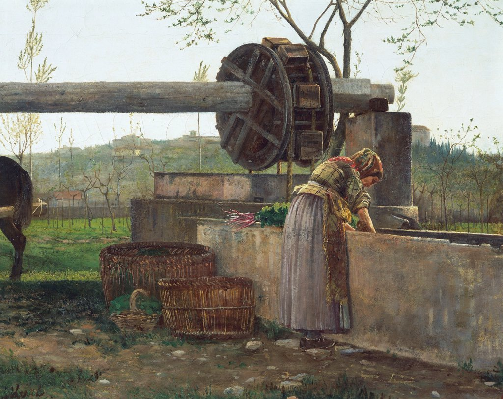 Stock Photo: 1788-43648 The pumping machine, 1863, by Silvestro Lega (1826-1895), oil on canvas, 44.5x78.2cm. Detail.