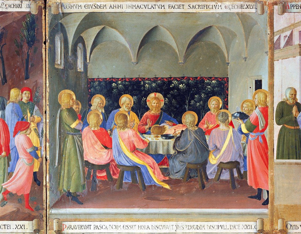 Inset depicting the Last Supper, panel from the Armadio degli Argenti (Silver Chest) with the life of Jesus, 1451-1453, by Giovanni da Fiesole known as Fra Angelico (1400-ca 1455), tempera on wood. : Stock Photo