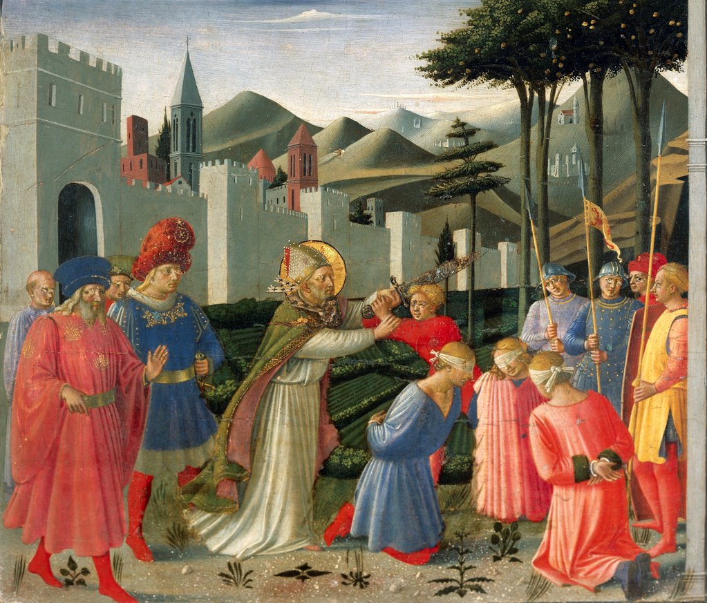 Stock Photo: 1788-43659 Predella depicting St Nicholas saving three men sentenced to be beheaded, Perugia Altarpiece, 1438, by Giovanni da Fiesole known as Fra Angelico (1400-ca 1455), tempera on wood.