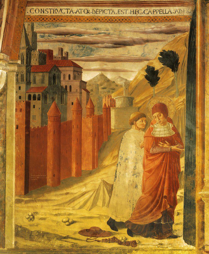 Stories of St Jerome, 1452, Benozzo Gozzoli (1421-1497), fresco. Chapel of St Jerome, the Church of San Francesco, Montefalco. : Stock Photo