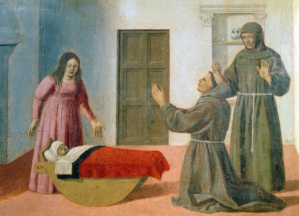 Stock Photo: 1788-43661 Altarpiece with scenes from the Life of Saint Francis, Piero della Francesca (ca 1415-1492).