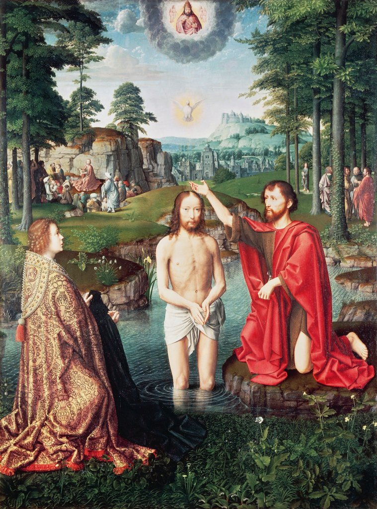 Stock Photo: 1788-43677 Baptism of Christ, central panel of the Jean des Trompes Triptych, 1502-1508, by Gerard David (ca 1460-1523), oil on panel, 127.9x96.6 cm.