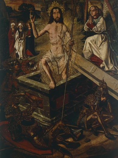 Stock Photo: 1788-43698 Resurrection of Christ, by Bartolome Bermejo (ca 1436-ca 1498).