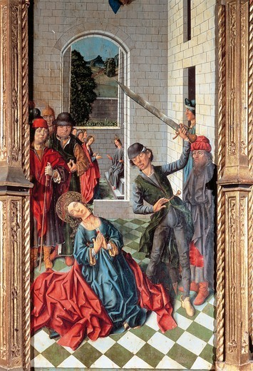 Beheading of St Catherine, panel of the St Catherine Triptych, by Fernando Gallego (active 1468-1507), panel. : Stock Photo