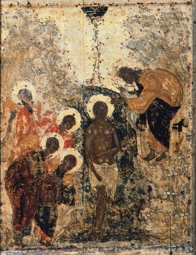 Baptism of Christ, by Andrei Rublev or Andrej Rubljov (1360-1430), 1405, Icon, Cathedral of the Annunciation, Moscow. : Stock Photo