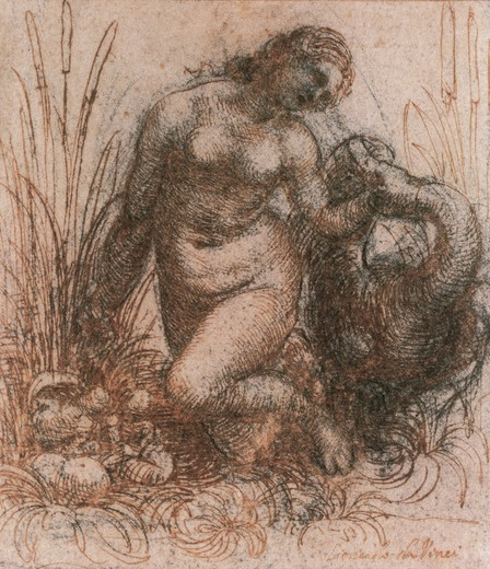 Stock Photo: 1788-43708 Study for Leda and the swan, 1506-1508, by Leonardo da Vinci (1452-1519), drawing.