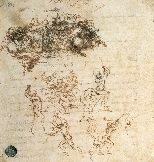Fighters and human movements, studies for the Battle of Anghiari, 1503-1504, by Leonardo da Vinci (1452-1519), drawing. : Stock Photo