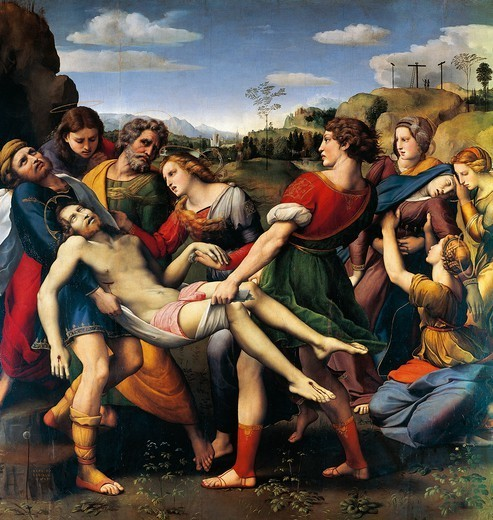 The Deposition (Borghese Deposition), 1507, by Raphael Sanzio (1483-1520), oil on canvas, 184x176 cm. : Stock Photo