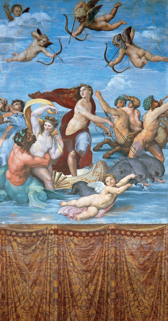 Stock Photo: 1788-43730 Triumph of Galatea, ca 1511 , by Raphael (1483-1520), fresco, 295x225 cm. Villa Farnesina, Hall of Galatea, Rome.