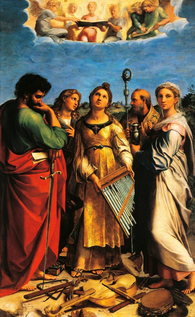 Stock Photo: 1788-43731 The Ecstasy of St Cecilia, 1514 circa, by Raphael Sanzio (1483-1520), oil on canvas, 239x149 cm.