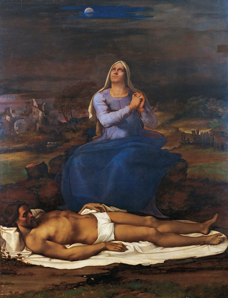 Stock Photo: 1788-43732 Panel with the Pieta, 1516-17, by Sebastiano del Piombo (1485-1547).