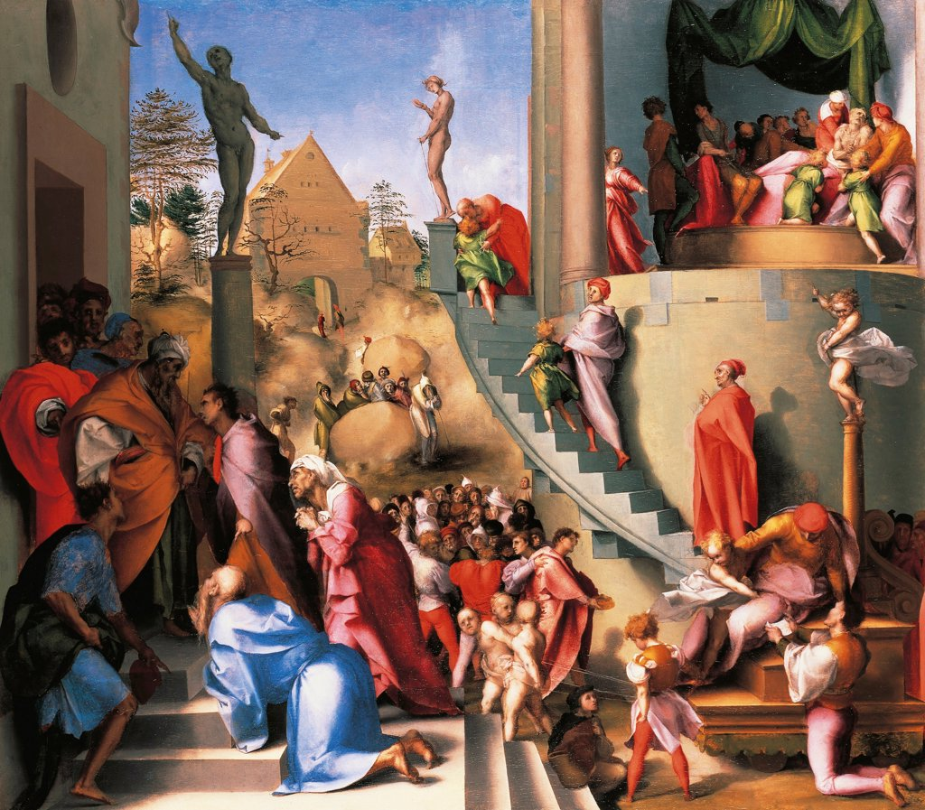 Stock Photo: 1788-43739 Joseph in Egypt, part of the Story of Joseph the Jew from Marriage bedchamber panels for Pier Francesco Borgherini, 1518, by Jacopo Carucci, known as Pontormo (1494-1557), oil on panel, 96.5 x 109.5 cm.