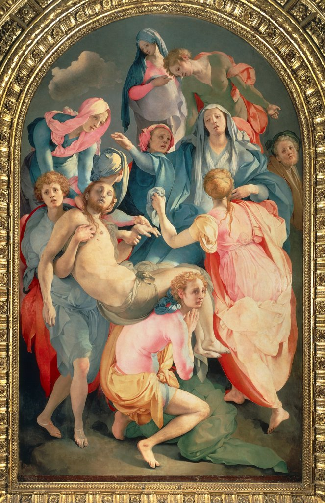 Stock Photo: 1788-43740 The deposition, by Giacomo Carucci known as the Pontormo (1494-1557), fresco. Church of Santa Felicita, Florence.