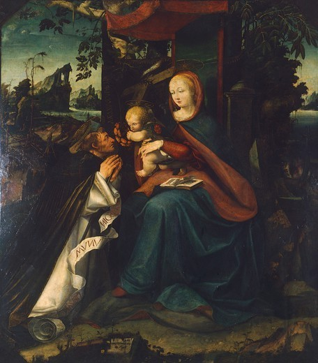 Madonna with St Peter, 1525, by Pietro Grammorseo (active from 1521 to 1533). : Stock Photo