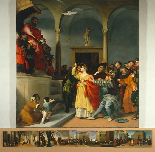 Altarpiece of Saint Lucia or Saint Lucia Before The Judge, 1532, by Lorenzo Lotto (1480 ca- 1556), oil on canvas, 243x237 cm. : Stock Photo
