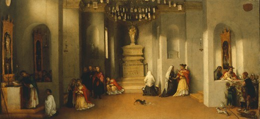 The calling of Saint Lucia, the first panel of the predella of the Altarpiece of Saint Lucia or Saint Lucia Before The Judge, 1532, by Lorenzo Lotto (1480 ca- 1556), oil on panel, 32x69 cm. : Stock Photo