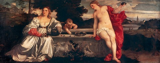 Stock Photo: 1788-43776 Sacred Love and Profane Love, 1514, by Titian (ca 1490-1576), oil on canvas, 118x279 cm.